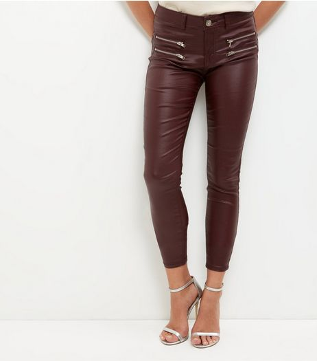 Parisian Burgundy Coated Skinny Jeans | New Look