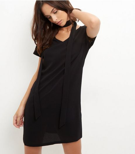 Black Tie Neck Short Sleeve Tunic Dress | New Look