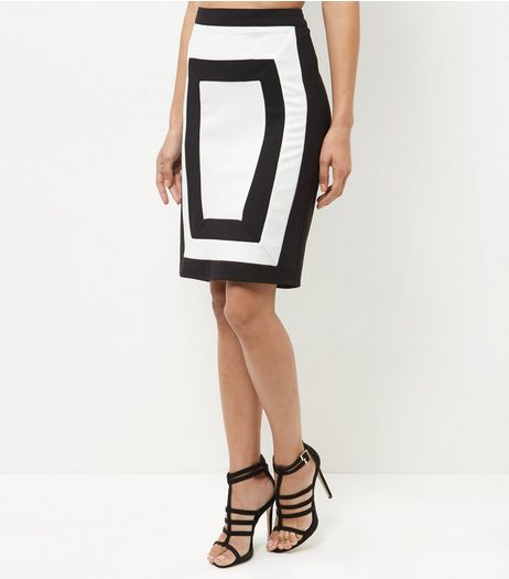 Parisian Black Colour Block Skirt | New Look