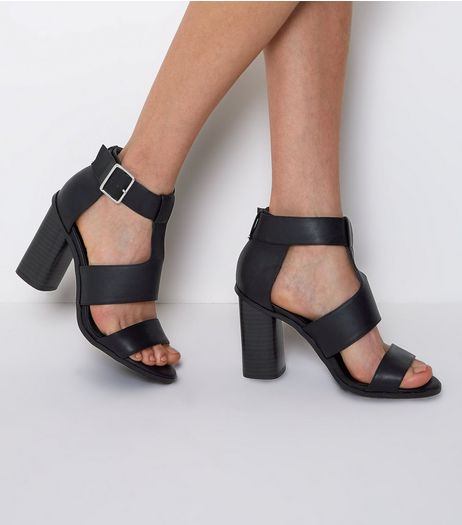 Black Multi Strap Heeled Sandals | New Look