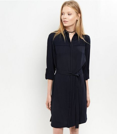 Navy Premium Tailored Pinstripe Print Shirt Dress | New Look