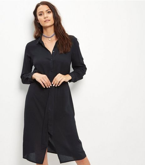 Black Belted Shirt Dress  | New Look