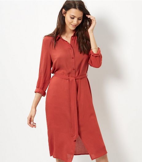 Brown Belted Shirt Dress  | New Look