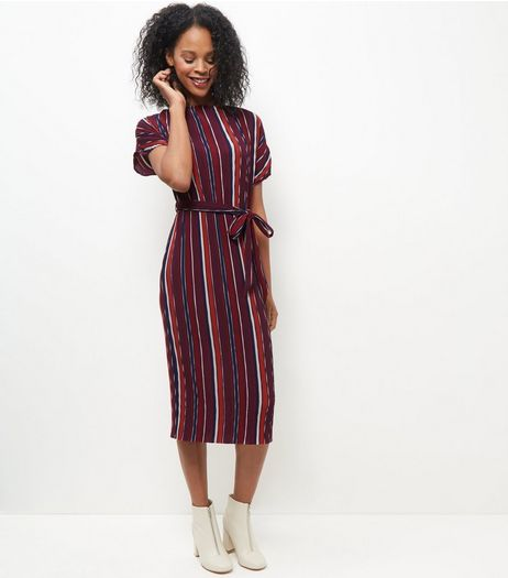 Burgundy Stripe Pleated Tie Waist Midi Dress  | New Look