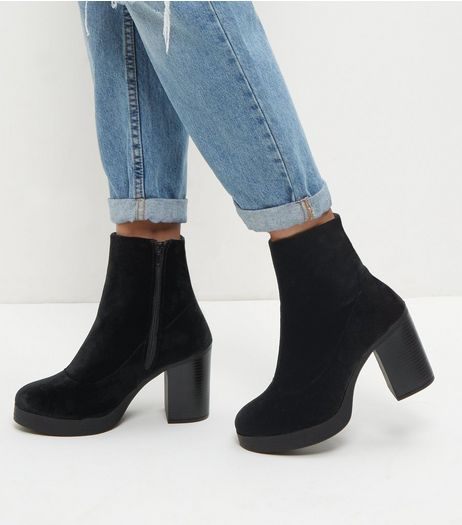 Wide Fit Black Chunky Block Heel Chelsea Boots  | New Look