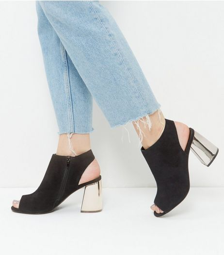 Black Suedette Peep Toe Flared Block Heeled Sandals | New Look