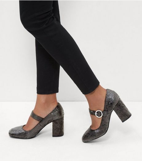 Black Brocade Print Strap Front Block Heels | New Look
