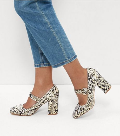 Gold Brocade Print Strap Front Block Heels  | New Look