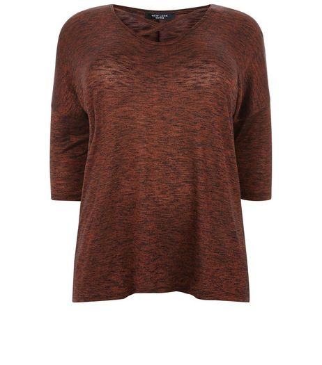 Curves Bronze Metallic Fine Knit Top | New Look