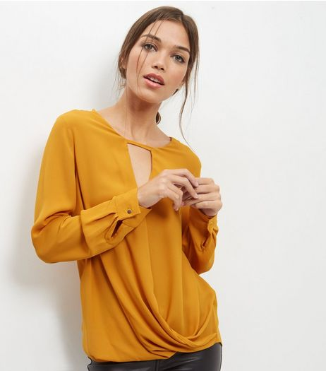 Yellow Cut Out Front Long Sleeve Wrap Front Top | New Look