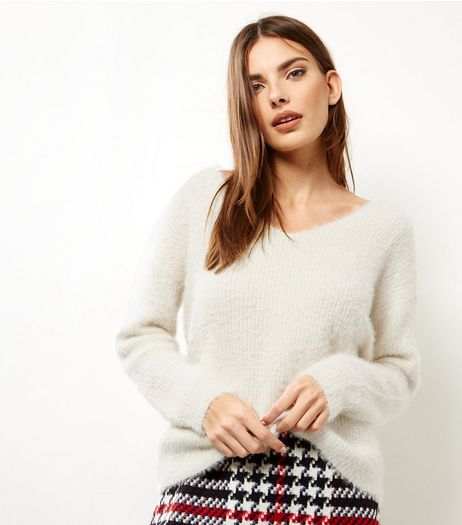 Cream Lattice Back Long Sleeve Jumper  | New Look