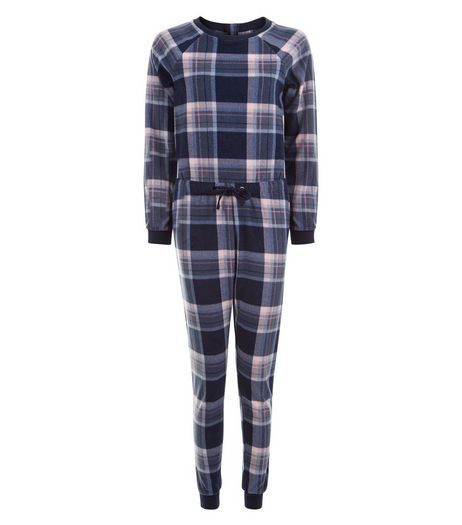 Teens Navy Check Onesie | New Look