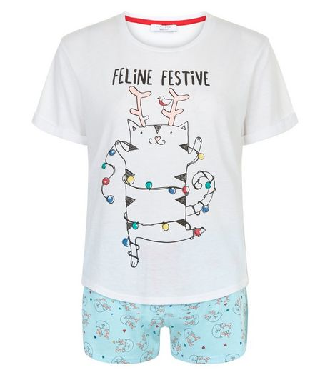 Teens Pale Blue Feline Festive Pyjama Set | New Look