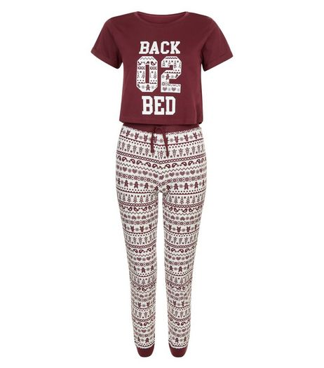 Teens Burgundy Back 02 Bed Fairisle Pyjama Set | New Look