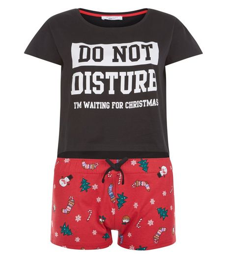Teens Black Slogan Christmas Pyjama Top and Shorts | New Look