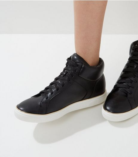 Black Gold Trim Hi-Top Plimsolls | New Look