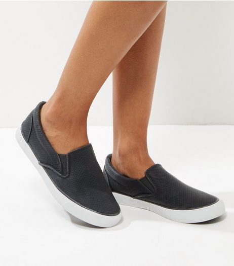 Black Snakeskin Textured Slip On Plimsolls | New Look