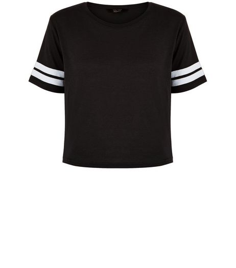 Teens Black Stripe Sleeve T-Shirt | New Look