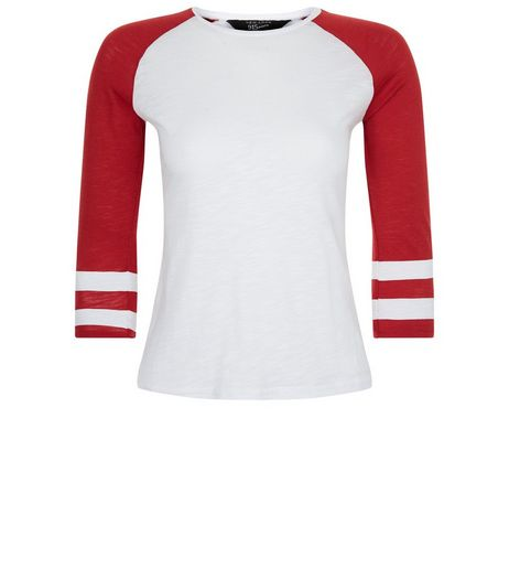 Teens Red Raglan Stripe Sleeve Top | New Look
