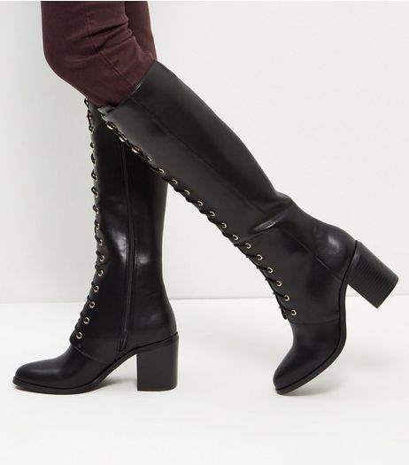 Black Leather-Look Lace Up Knee High Boots | New Look