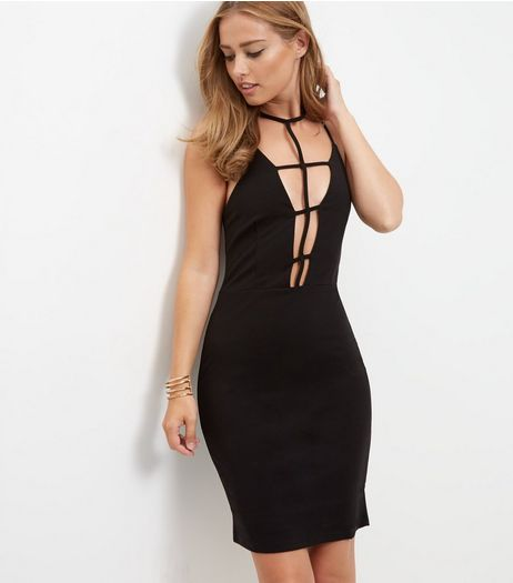 Parisian Caged Choker Bodycon Dress | New Look