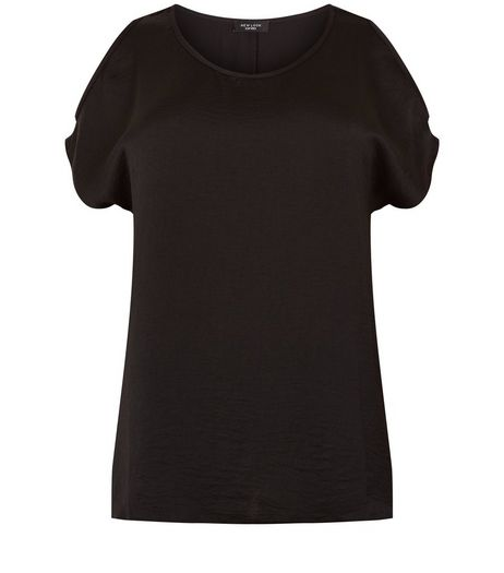Curves Black Satin Cold Shoulder T-Shirt | New Look