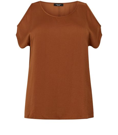Brown Sateen Fine Knit T-Shirt | New Look