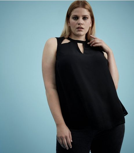 Curves Black Cut Out Sleeveless Top  | New Look