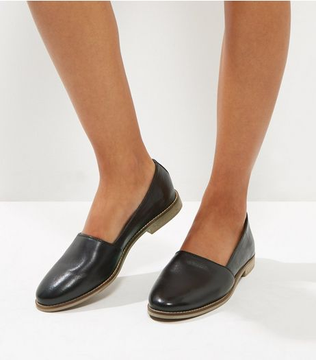 Black Leather Contrast Sole Pumps | New Look