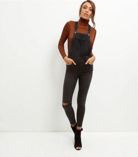Black Ripped Knee Skinny Dungarees | New Look