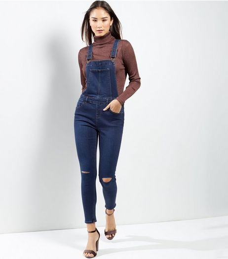 Blue Ripped Knee Skinny Dungarees | New Look