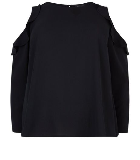 Curves Black Cold Shoulder Frill Trim Top  | New Look