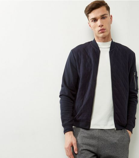 Navy Quilted Bomber Jacket | New Look