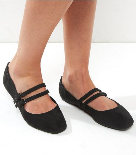 Black Suedette Double Strap Square Toe Pumps | New Look
