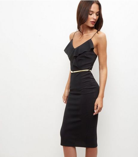 Black Ruffle Trim Belted Bodycon Dress  | New Look
