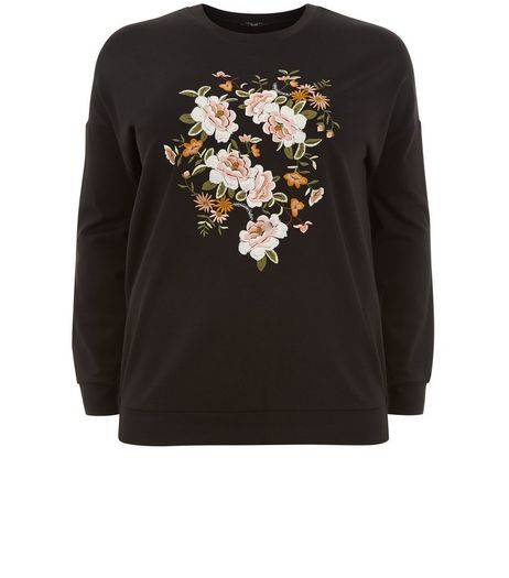 Curves Black Floral Embroidered Sweater | New Look
