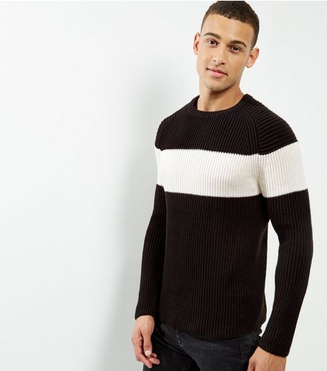 Black Contrast Stripe Crew Neck Jumper | New Look