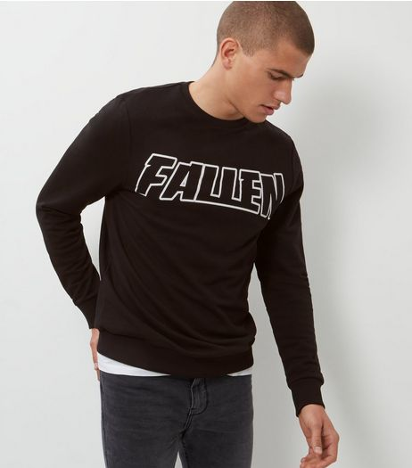 Black Fallen Sweater  | New Look
