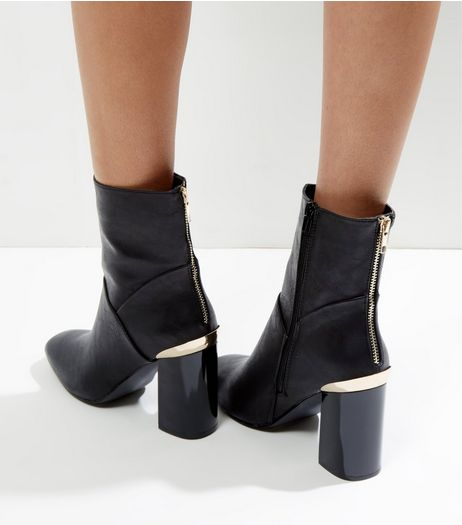 Black Zip Back Metal Trim Heel High Ankle Boots | New Look