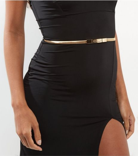 Gold Stretch Skinny Waist Belt | New Look