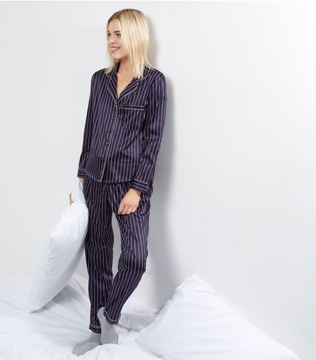 Navy Sateen Stripe Pyjama Set | New Look