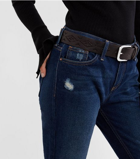 Black Embroidered Jeans Belt | New Look