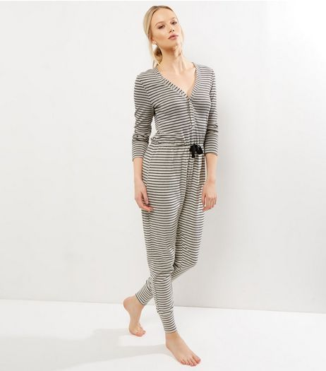 Camel Striped Drawstring Waist Onesie  | New Look
