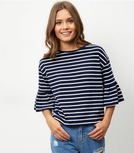 Blue Stripe Bell Sleeve Boxy Top | New Look