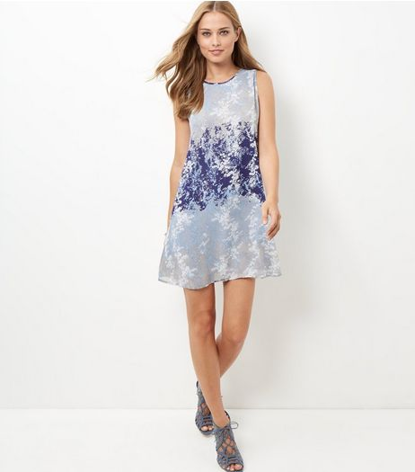 Apricot Blue Contrast Floral Print Swing Dress | New Look