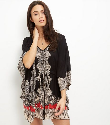 Apricot Black Abstract Print Kaftan | New Look