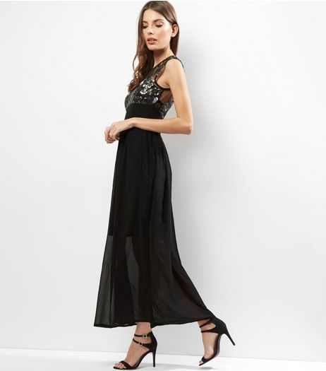 Mela Black Lace Overlay Sleeveless Maxi Dress | New Look