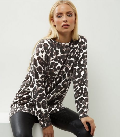 Mela Brown Animal Print Jumper  | New Look