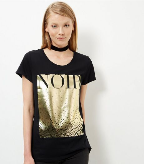 Black Gold Foil Noir T-Shirt  | New Look