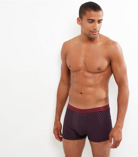 3 Pack Red Geo Print Trunks | New Look
